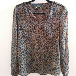 Blue Rain Sheer Leopard Print Blouse S